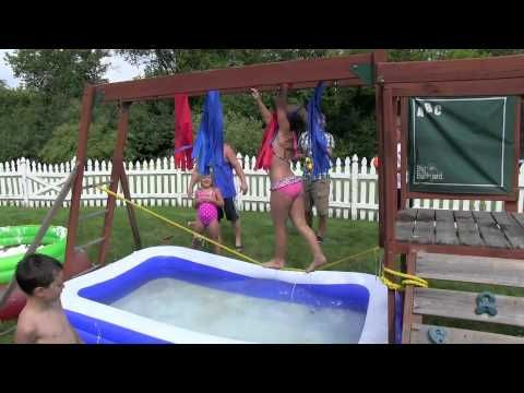 Some people take their kids to Disney World and some people build Wipeout in their backyard...these parents get an A+