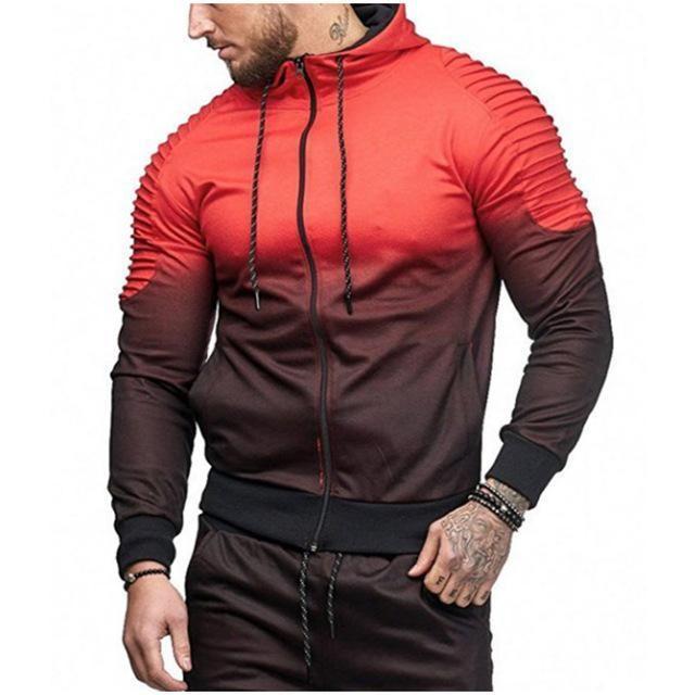 Mens Gradual Change Pullover Long Sleeve Hooded Sweatshirt Top Blouse