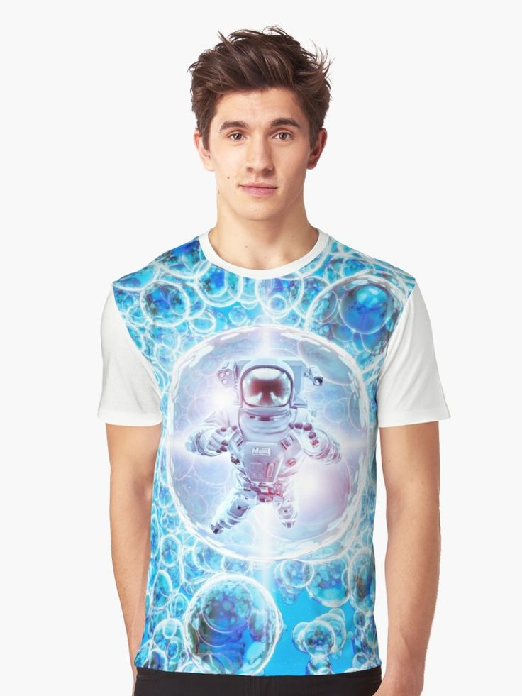 3D illustration of astronaut floating among bright glowing galactic spheres. • Also buy this artwork on apparel, stickers, phone cases, and more.
