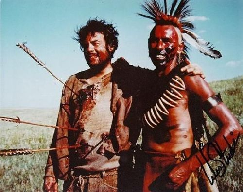 "Robert Pastorelli and Wes Studi on the set of ""Dances With Wolves"" (autographed!) (source: http://i.imgur.com/QsPbhDr.jpg)"