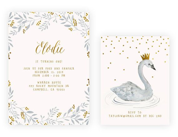 Swan Birthday Party Invitation by KelliMurrayArt on Etsy