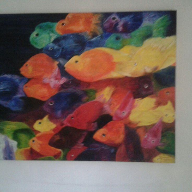 """cuadro al oleo """"Pecesitos de colores"""" formato grande"""
