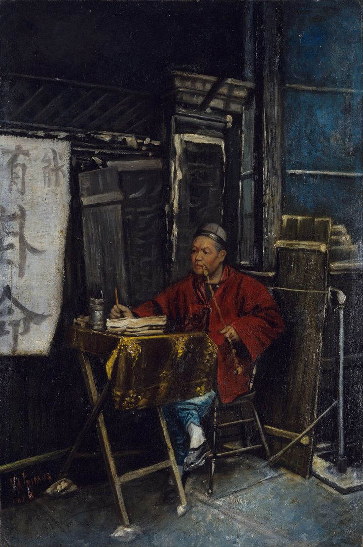 https://flic.kr/p/N575Se | Nelson A Primus - The Fortune Teller [1898] | In 1885, Nelson Primus moved from Boston, Massachusetts, where he worked and studied portrait painting, to San Francisco, California, where he lived in the city's predominantly Chinese community. Fortune Teller, a work for which he is now well known, is an example of his realistic portrayal of life in Chinatown during the end of the 19th century. In this work, with deft painterly skill, Primus depicts a red-robed…