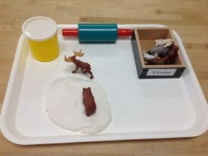 """Animal Tracks in """"snow"""" - duh! Make play doh work coincide neatly with other curriculum"""