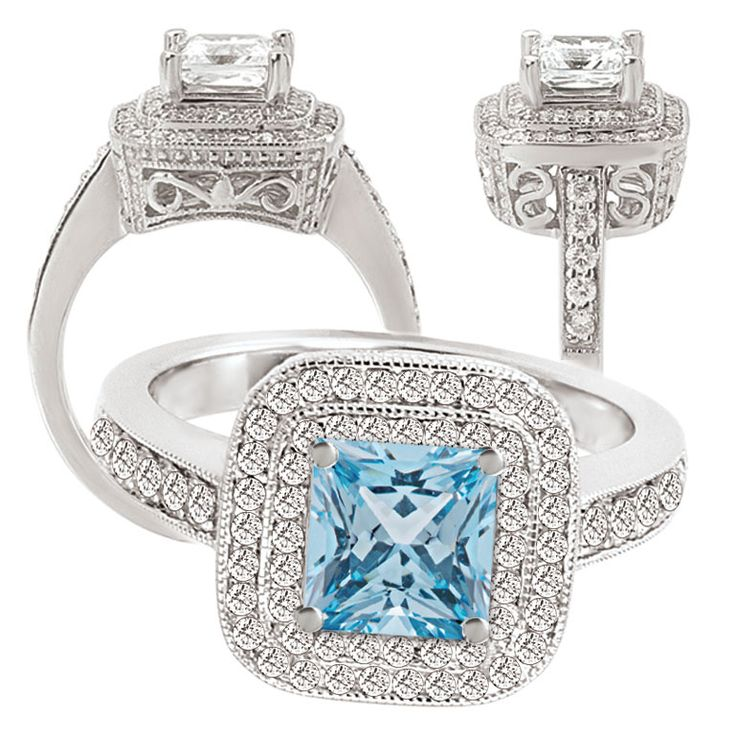 141 best images about aqua engagement rings on