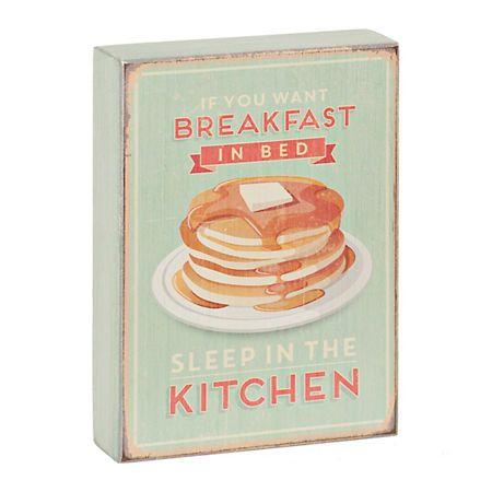 Breakfast in Bed Pancakes Wooden Word Block | Kirklands
