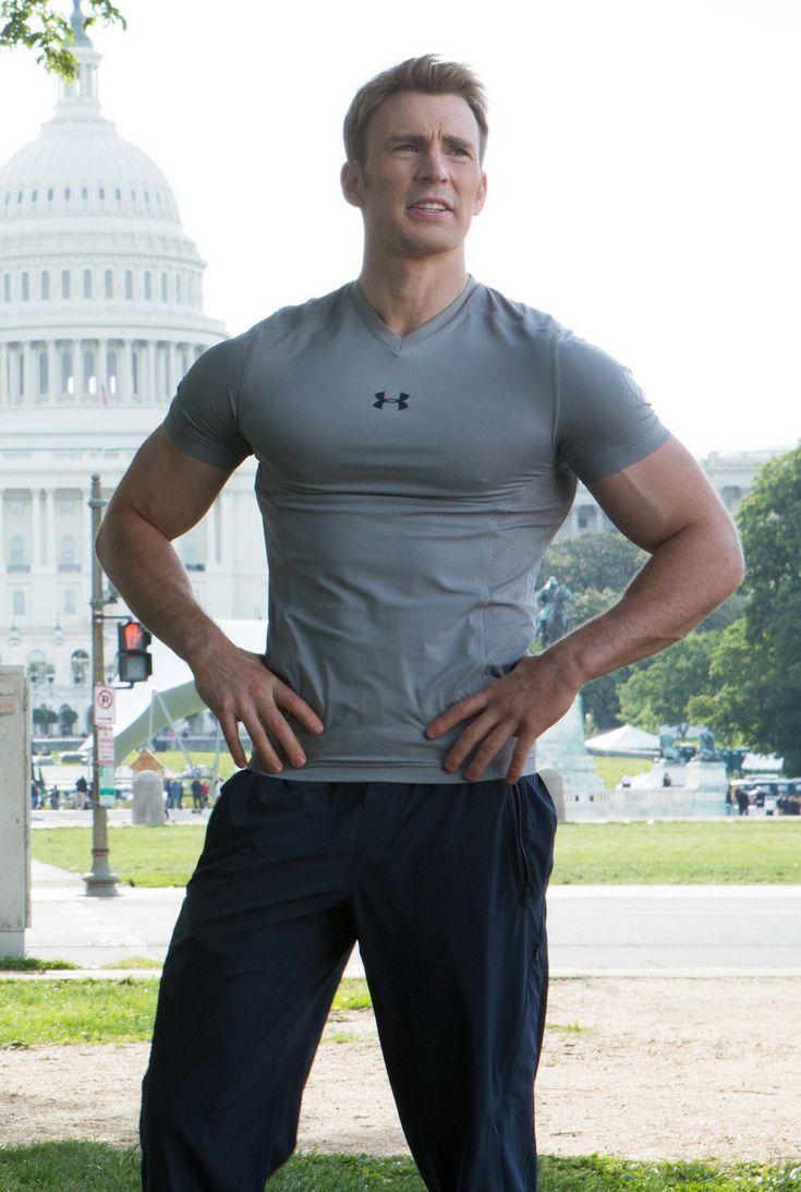 Steve Rogers (Chris Evans). In DC. Wearing under armor.