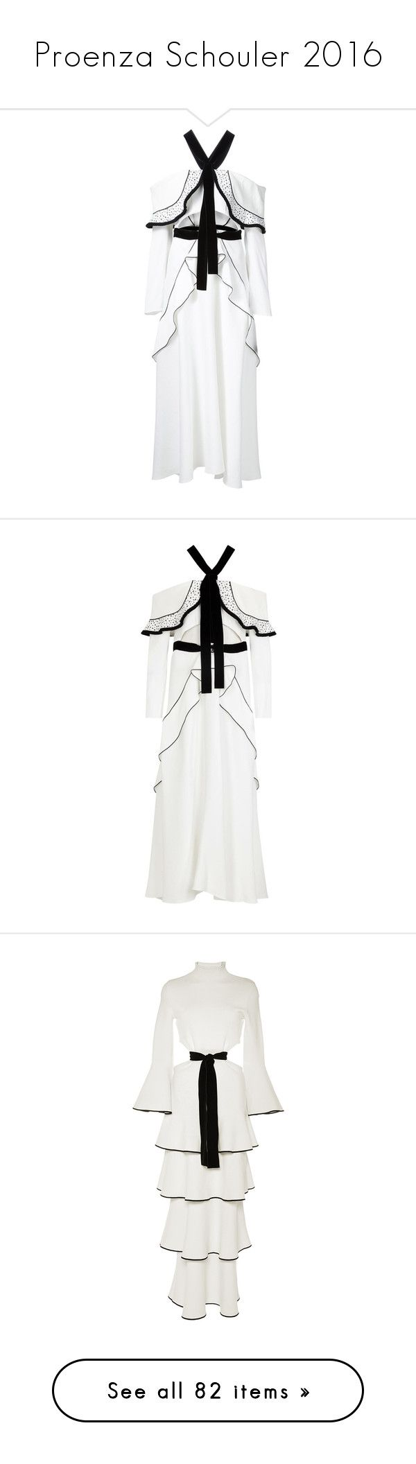 """""""Proenza Schouler 2016"""" by sella103 ❤ liked on Polyvore featuring dresses, white, long sleeve dresses, off shoulder dress, white cut out dress, white ruffle dress, ruffle dress, cutout dresses, circle skirt and white off the shoulder dress"""