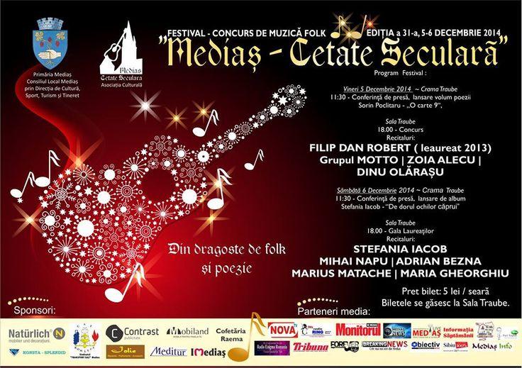 Sambata, 6 decembrie, ne vedem la Medias, in Cetatea Luminilor. Recital la Festivalul Medias - Cetate Seculara 2014