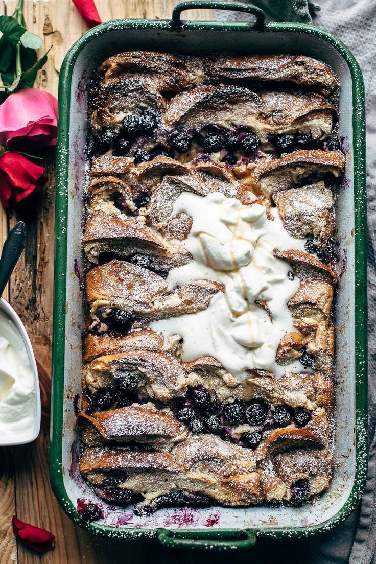 This Blueberry Cream Cheese French Toast Bake recipe is made in 15 minutes. Soaked challah bread layers - sweet vanilla cream cheese - blueberries.
