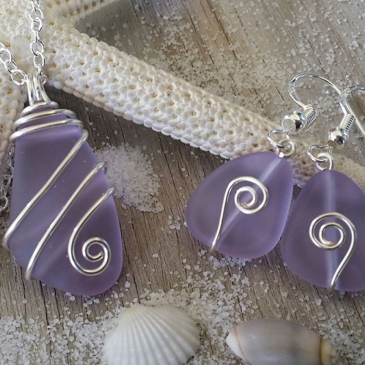 Wire wrapped purple sea glass jewelry set.