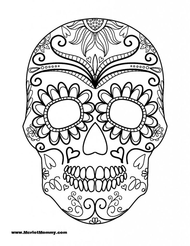sugar skull coloring page az coloring pages - Halloween Skeleton Coloring Pages