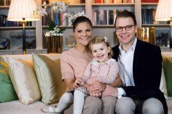 Crown Princess Victoria and Prince Daniel along with daughter Princess Estelle of Sweden 12/5/2014