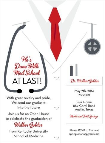 7 best medical invites images on pinterest grad parties dr white coat male invitations graduation party suppliesgraduation party invitationsgraduation ideasmedical partyschool filmwisefo