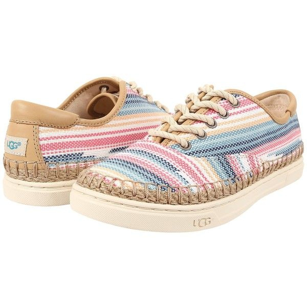 UGG Eyan II Serape Women's Lace up casual Shoes ($90) ❤ liked on Polyvore featuring shoes, ugg australia, stitch shoes, lace up espadrilles, espadrilles shoes and lace up flat shoes