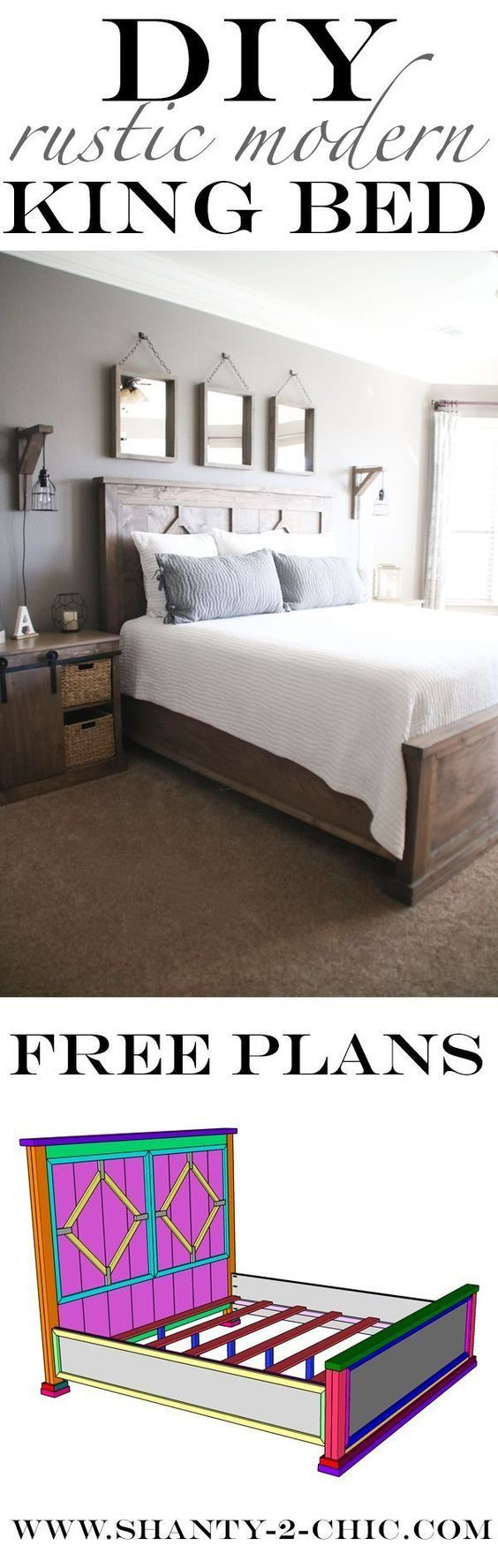 I built this 4-piece DIY Rustic Modern King Bed for less than $300 in lumber! Free easy-to-follow plans at http://www.shanty-2-chic.com Rustic Bed, DIY Bed, King Bed DIY Furniture, Free Building Plans, DIY Bed