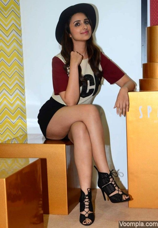 Parineeti Chopra looks hot as she shows off her legs in shorts and top by Kanika Goyal, paired with sexy lace-up caged heels. She has been styled by Nitasha Gaurav. via Voompla.com