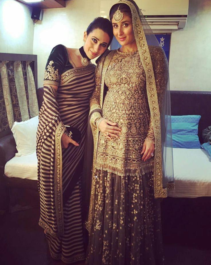 Karishma Kapoor In Black Saree And Kareena Kapoor In Green