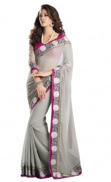 Aparnaa Grey Color Jute Saree With Resham Work . Embroidery resham work on jute with dhupion net blouse.