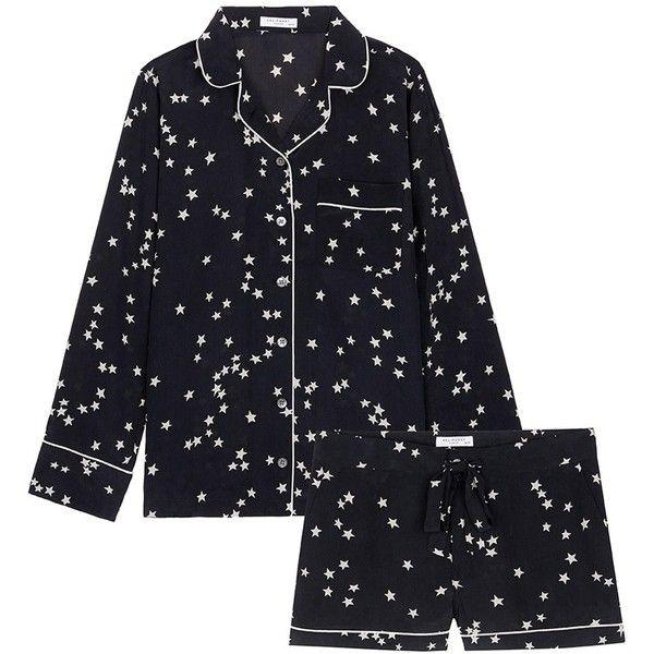 Equipment 'Lillian' star print silk pyjama set ($425) ❤ liked on Polyvore featuring intimates, sleepwear, pajamas, black, silk pajama set, silk loungewear, silk pajamas, silk pjs and silk pyjamas