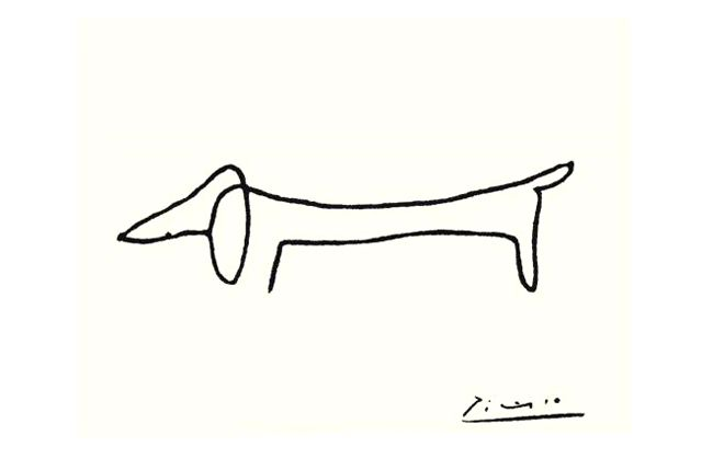 Picasso's portrait of his beloved dachshund, Lump.
