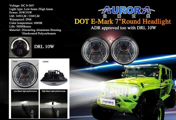 Aurora Jeep Wrangler Jk Black Silver Face Led Head Light Kit W