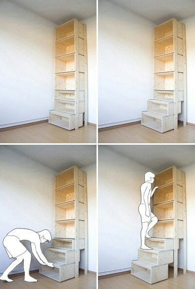 Book shelf with built in stairs