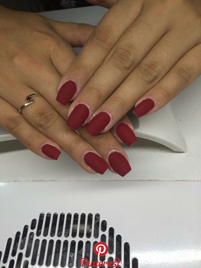 33 Winter Chic Matte Red Nails Red Acrylic Nails Short Acrylic Nails Red Nails