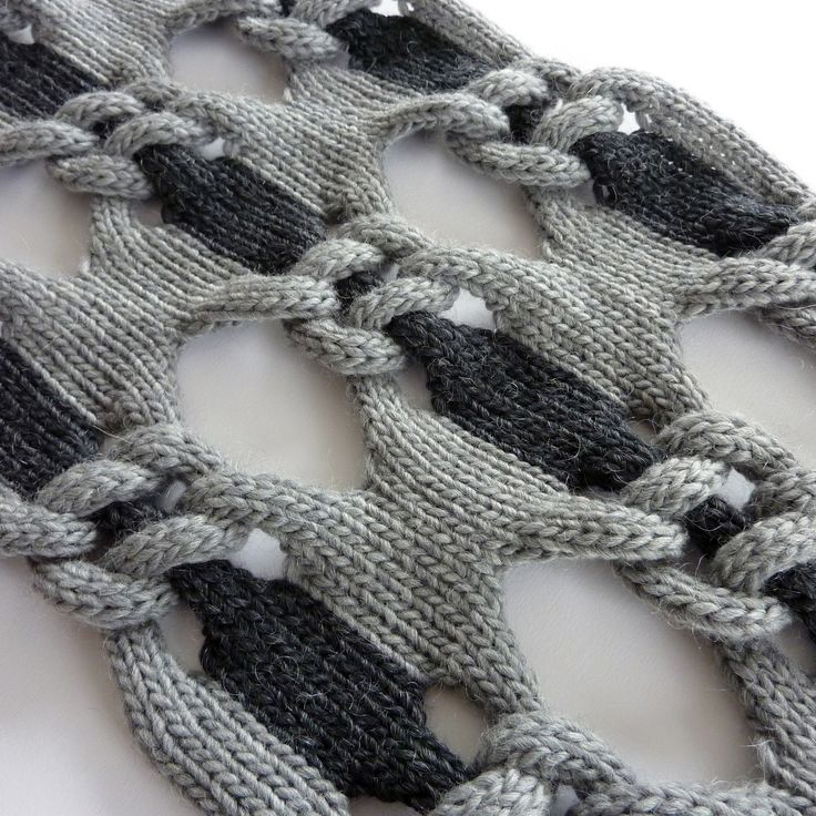 Knitted Textiles Design - knot net shawl, structural knitting with two tone linking pattern // Cari + Carl