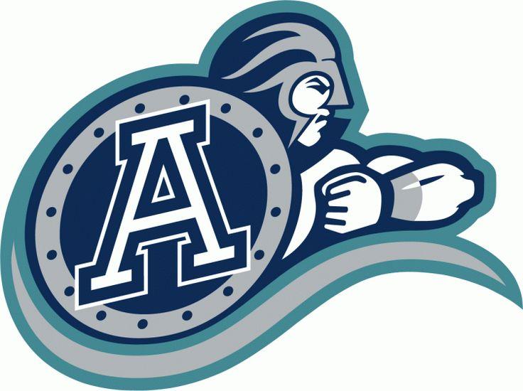 Toronto Argonauts Primary Logo (1995) - Blue Greek Warrior with white A on blue shield