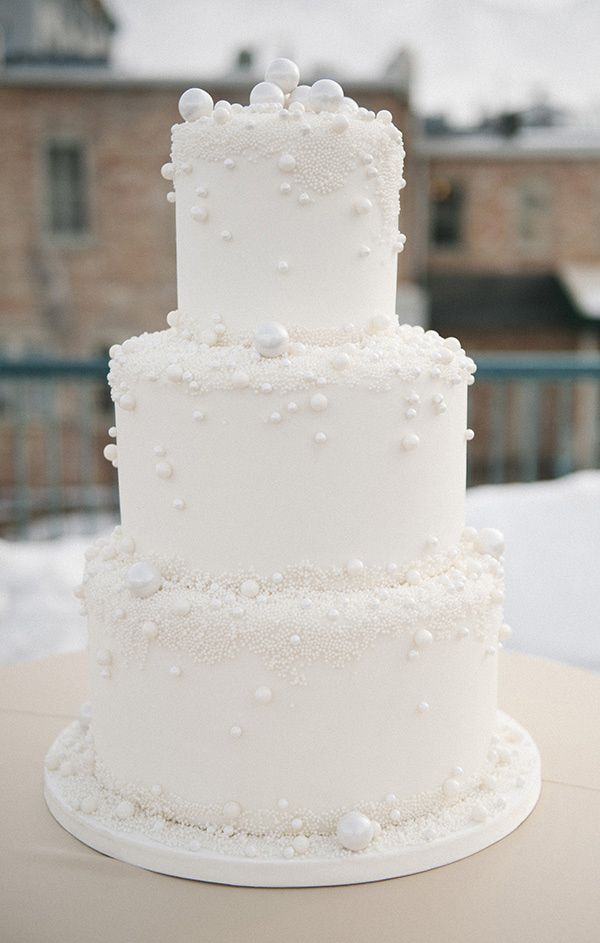 white pearlized wedding cake // photo by Brooke Schultz // cake by Carrie's Cakes