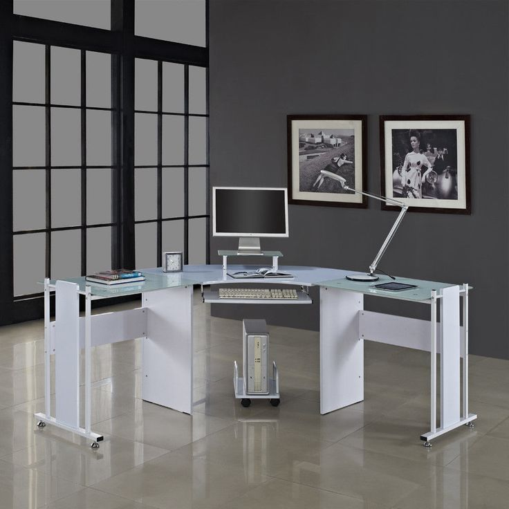 Glass Corner Desk Wood Metal White Reception Table Computer Study Room Office
