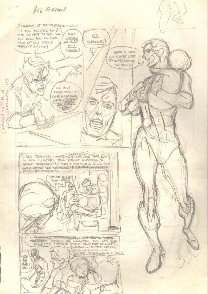 Comic Art For Sale from Anthony's Comicbook Art, Captain Action p.14 Hero w/ Kid Pencil Prelim Signed by Comic Artist(s) Gil Kane