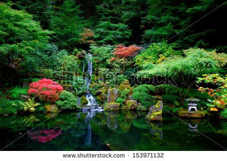 Waterfalls in a Japanese Garden