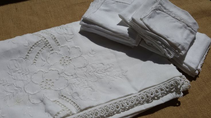 Victorian Tablecloth White French Linen Matching Napkins Floral Embroideries Handmade 10/12 pers #sophieladydeparis