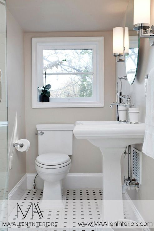 MA Allen Interiors: Contemporary powder room with greige walls and black and white vintage tile floor. Small ...
