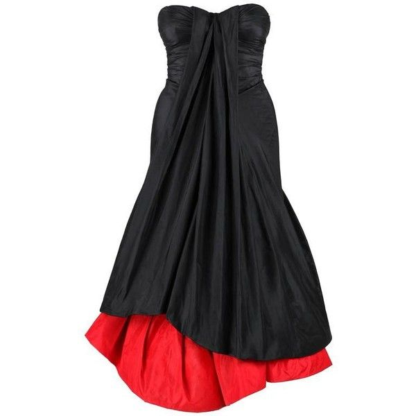 """Preowned Alexander Mcqueen A/w 2007 """"witches"""" Black Red Silk Strapless... ($5,494) ❤ liked on Polyvore featuring dresses, red, strapless corset, red cocktail dress, red silk dress, red strapless cocktail dress and asymmetrical dress"""