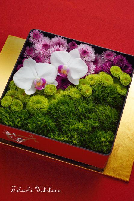 新年の和風アレンジ 重箱アレンジ お正月飾り お花のおせち 作り方 サプライズ