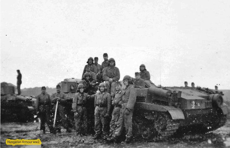 Zrinyi assault gun and crews. Background two Turan 41.M Hungarian medium tank. Location is : Aknaszlatina Ukraine about 1943-44. On the back armour of the Zrínyi the unit signal is an white skull with bones.     Zrínyi roham löveg valószínű már a Kárpátalját fenyegtő orosz betörés miatt a hadműveleti területre vezényelve feltehtőleg 1943 őszén. Aklaszlatina Ukrajnában található . A zrínyi hátulján jól kivehető a fehér koponya csontokkal mely alakulat jelzése volt ezen járműnek.