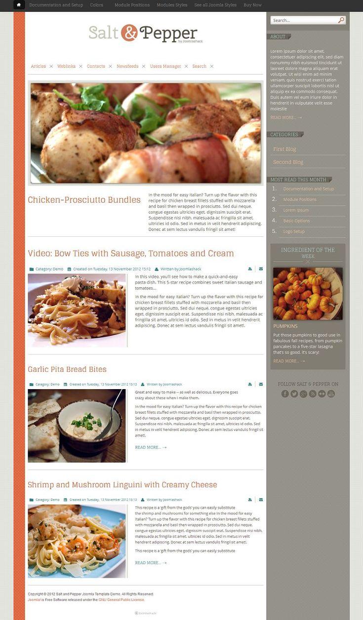 Salt & Pepper Responsive Joomla 3.0 Template for Blogs