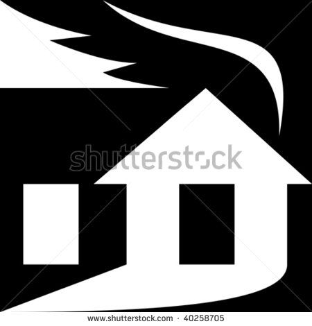 illustration of a silhouette of a house with smoke coming out shaped as leaf denoting it being green or eco-friendly. #house #silhouette #illustration