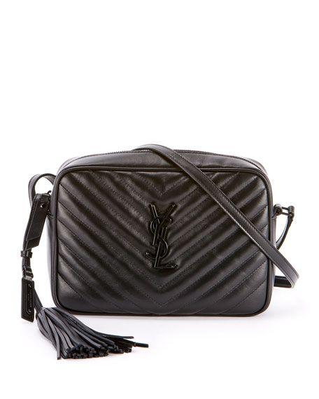 c2d4648e0bb3 Loulou Monogram YSL Medium Chevron Quilted Leather Camera Shoulder Bag -  Black Hardware by Saint Laurent at Neiman Marcus