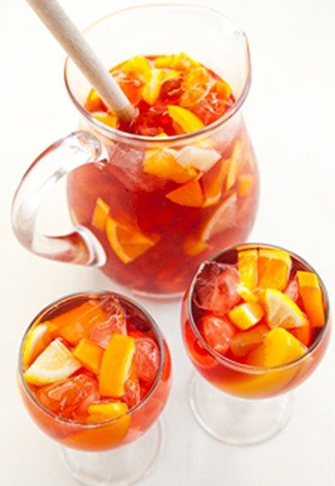 Welch's Sangria - Non-alcoholic punch recipes: -3 cartons of Welch's Purple Grape Light  -juice of 4 oranges -juice of 3 lemons -1 bottle of lemonade -chopped peaches, orange, apple and lemon for garnish