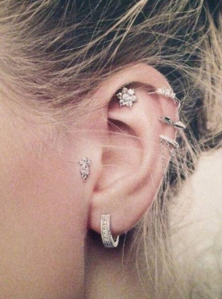 jewels earrings ear piercing helix piercing silver earring hoop earrings ear cuff stud earrings pretty earing targus the hoop earring on the lobe tragus