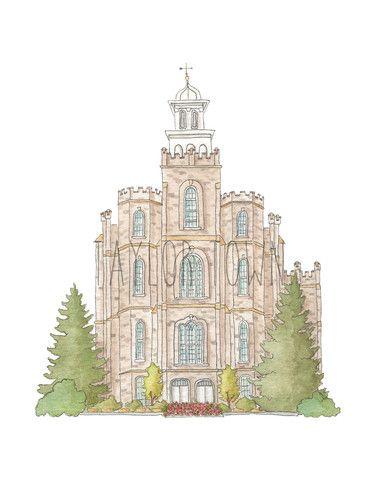 Logan, Utah LDS Watercolor Temple