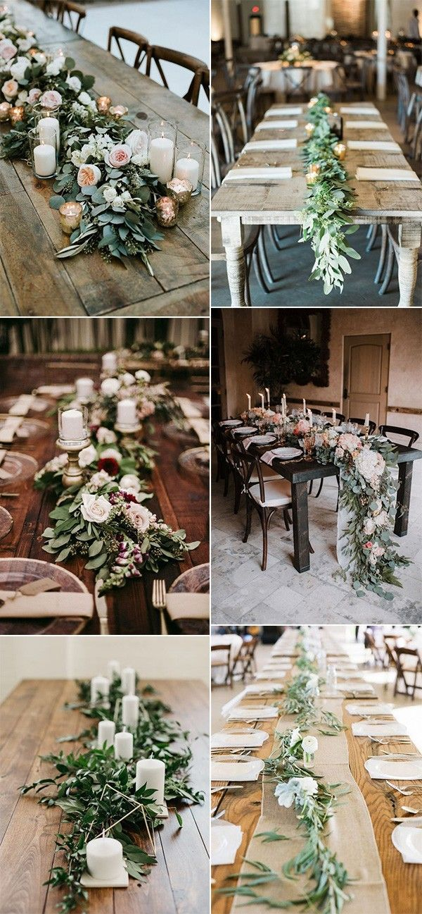 15 Greenery Garland Wedding Centerpiece Ideas For Long Table Oh Best Day Ever Farm Table Wedding Long Table Centerpieces Long Table Wedding