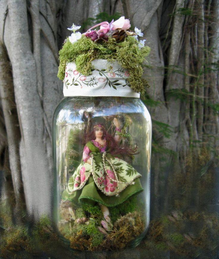 Dollhouse Doll Half Scale Illuminated Pixie Iris in Mason Jar 1:24 scale. $75.00, via Etsy.