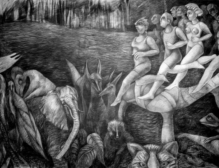Carbonilla sobre tela 190 x 150 cm