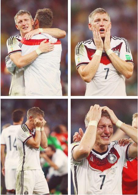 Bastian Schweinteiger after winning the World Cup <3 Awwww....