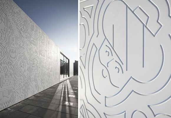 anansi building :: beautiful engraved façade http://www.e-glue.fr/now/architecture/anansi-facade/6247 #kidsarchitecture #graphicdesign #playground